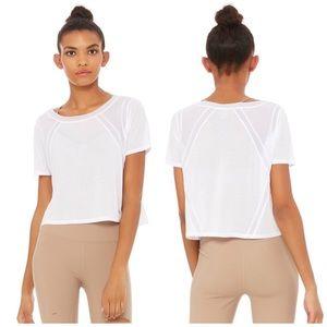 Alo Yoga White Tone Short Sleeve Top Large NWT
